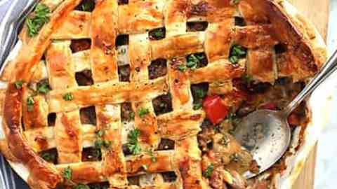 Chicken and Chorizo Pie With Puff Pastry