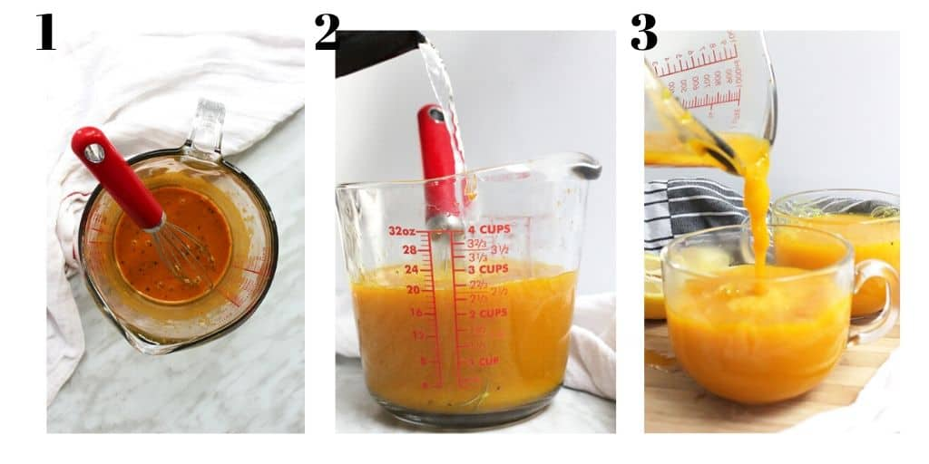 Three process shots to show how to make the recipe