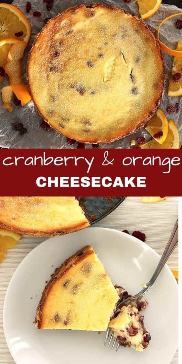 Pinterest image. Two shots of the cheesecake with a text separator