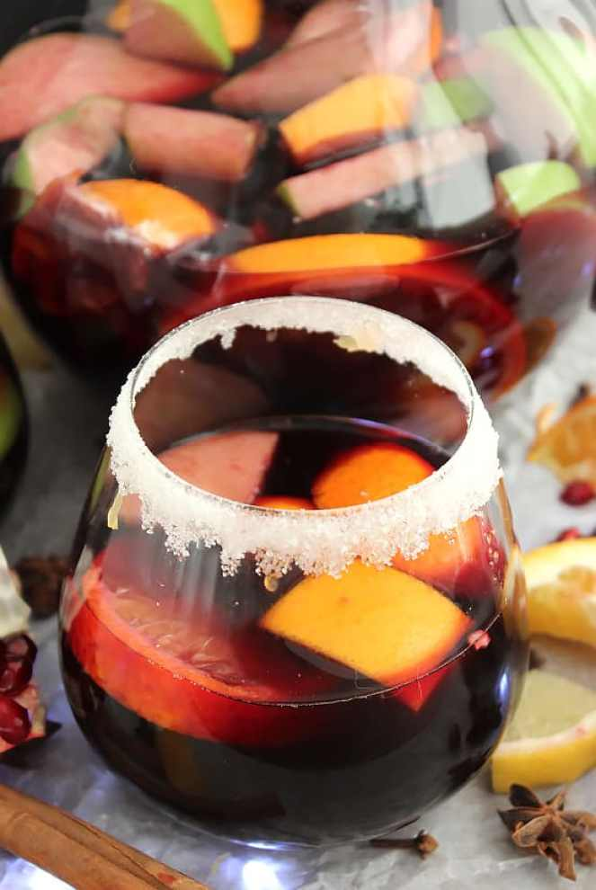 A glass of red wine sangria