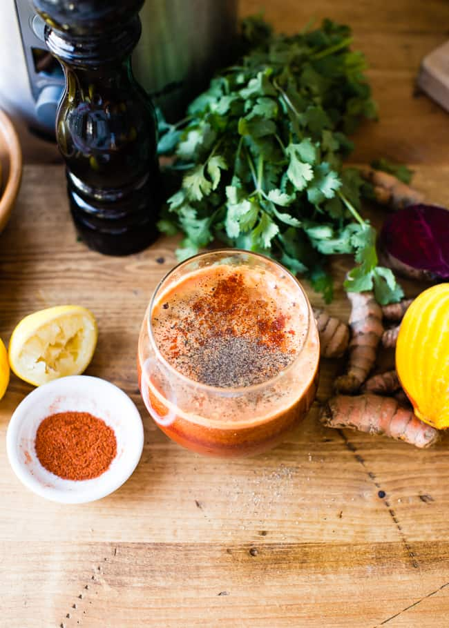 Turmeric beet juice in a glass