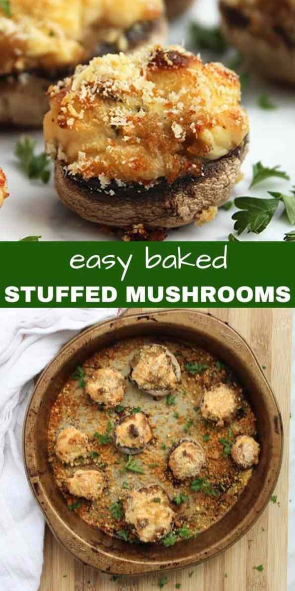 Pinterest graphic. To photos of baked stuffed mushrooms with text separator
