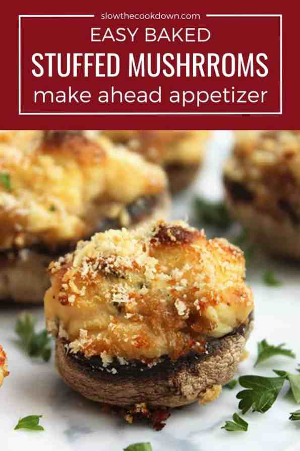 Pinterest grahic. A baked stuffed mushrooms with text overlay