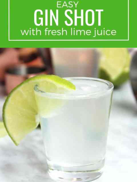 A gin shot with a lime slice with text overlay.