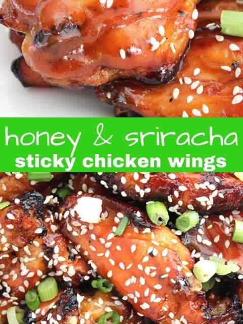 Pinterest graphic. Two photos of sticky chicken wings with a text separator