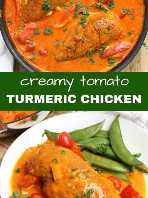 Pineterst image. Tow photos of turmeric chicken with a text separator