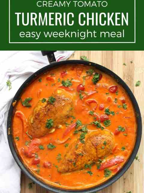 Pinterest image. Turmeric chicken cooked in a skillet with text overlay