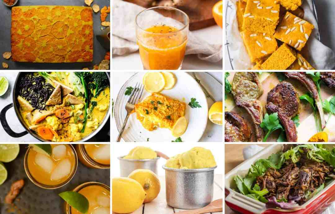 A collage of different turmeric recipes