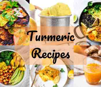 Six turmeric recipes with text overlay