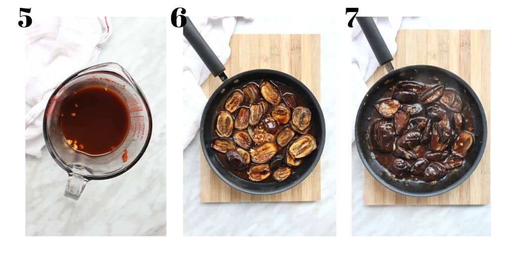 Process shots to show how to stir fry the eggplant