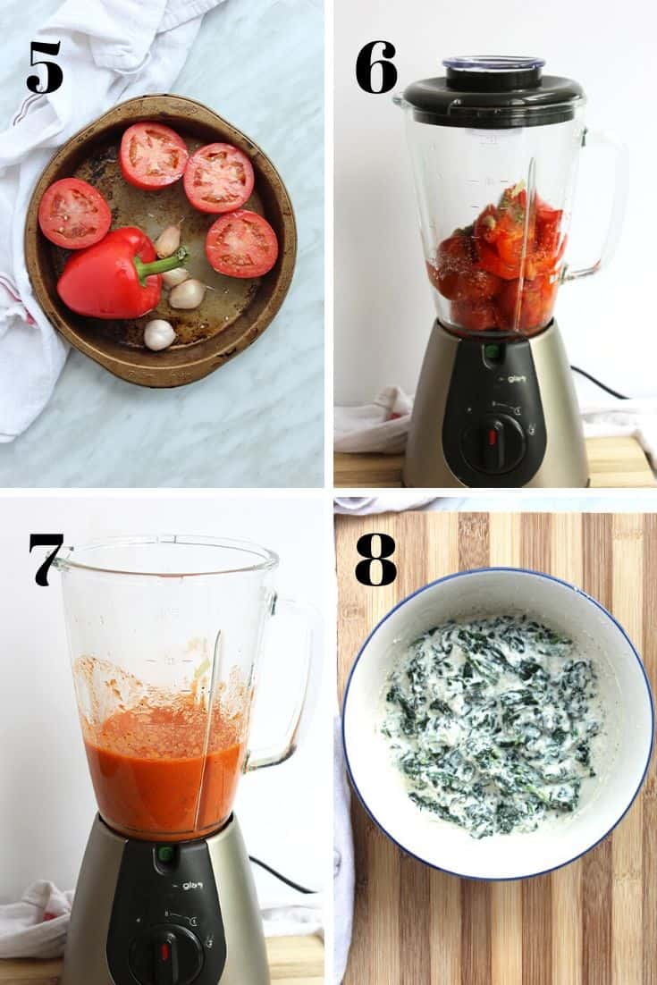 4 shots to show how to make the pasta sauce and spinach and ricotta filling.