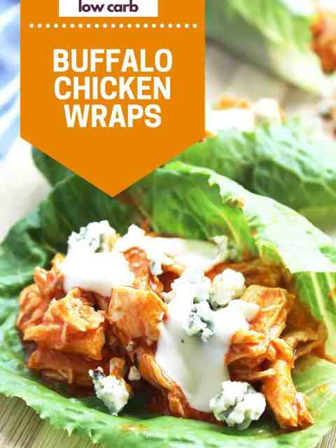 Pinterst graphic. Buffalo chicken lettuce wrap with text