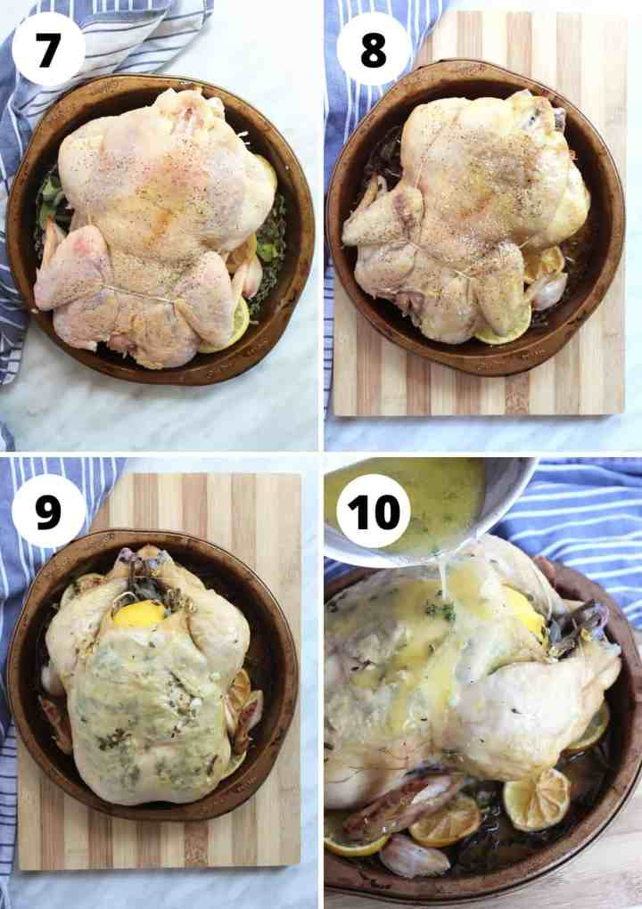 Four shots to show the chicken during the cooking process