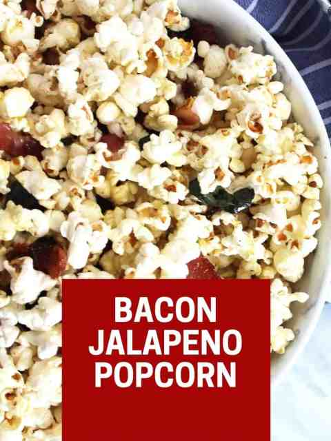 Pinterest graphic. Bacon jalapeno popcorn with text