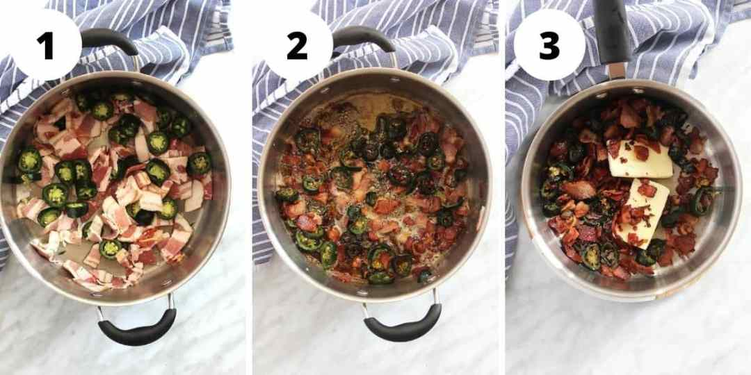 Three shots to show how to cook the bacon and make the butter topping