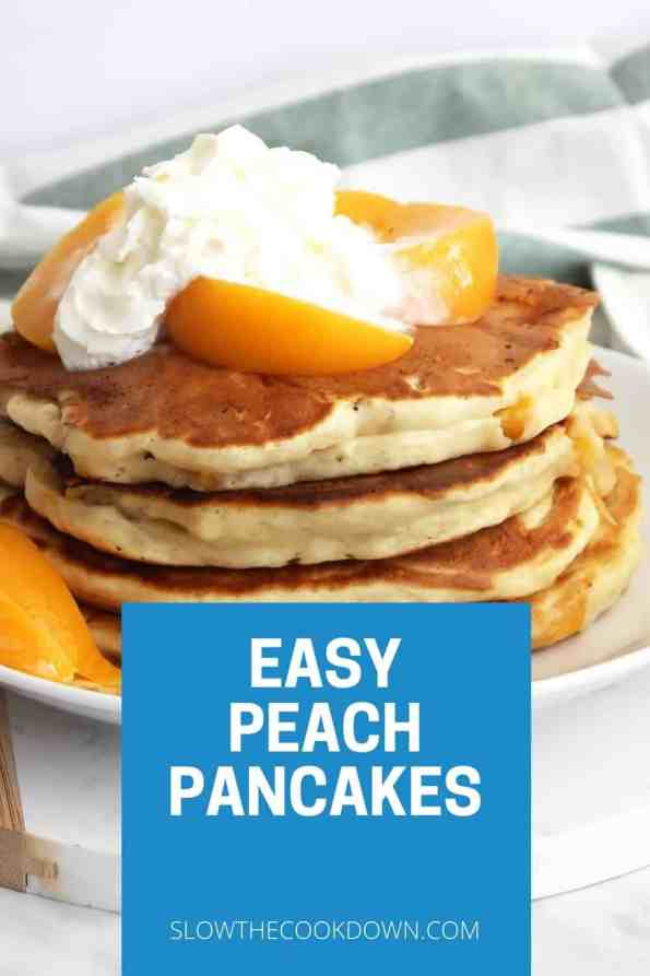Pinterest graphic. Peach pancakes with text