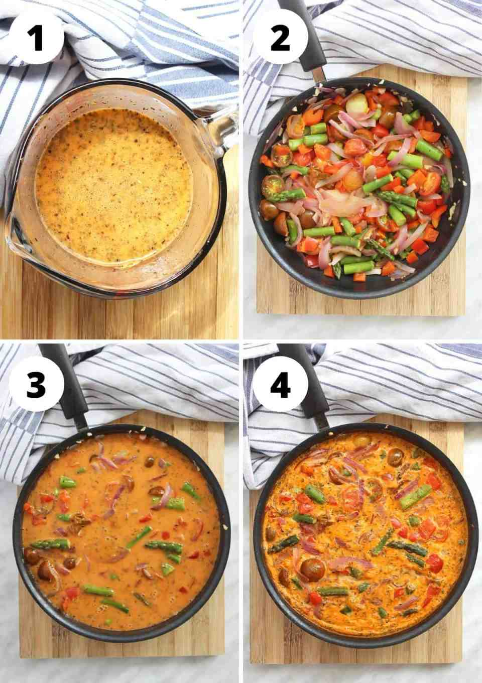 Four shots to show how to make the frittata