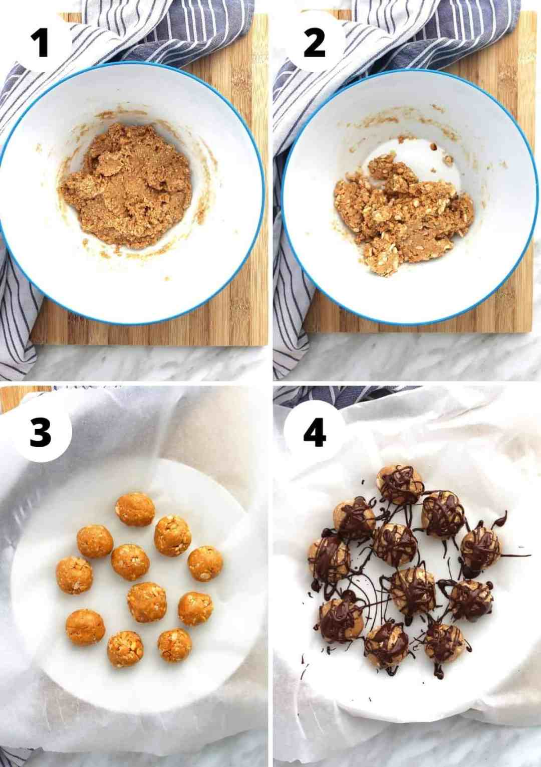 Four photos to show how to make the peanut butter bites
