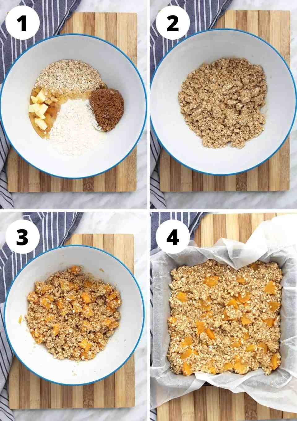 Four photos to show how to mix the ingredients and press into the tin.