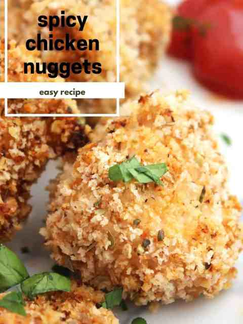 Pinterest graphic. Spicy chicken nuggets with text