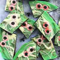 Pieces of halloween bark with candy eyes.