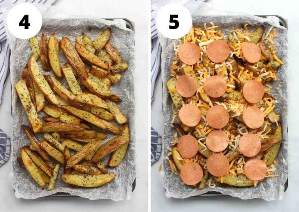 The cooked fries on a sheet pan with the toppings added.