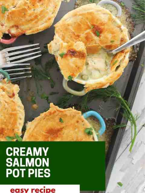 Pinterest graphic. Salmon pot pies with text.