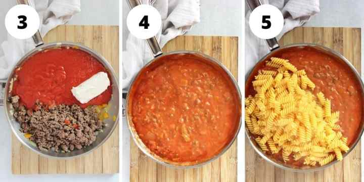 Three step by step photos to show how to make the pasta sauce and stirring in the pasta.