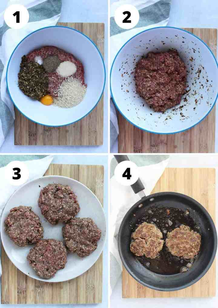 Four step by step photos to show how to make and cook the burger patties.