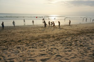 The Kuta beach boys invited themselves for a game of soccer