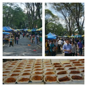 Market before the prayer finished,  versus after.