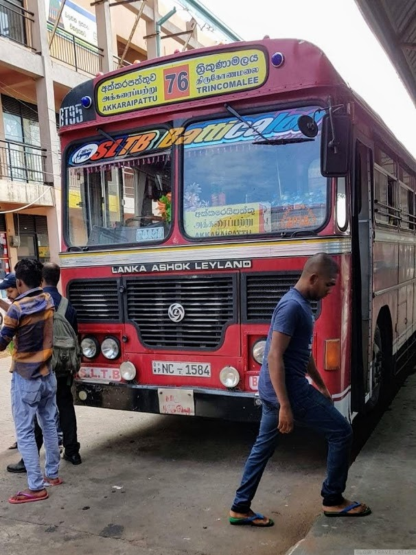 Public bus in Sri Lanka, line from Trincomalee to Akkaraipatu