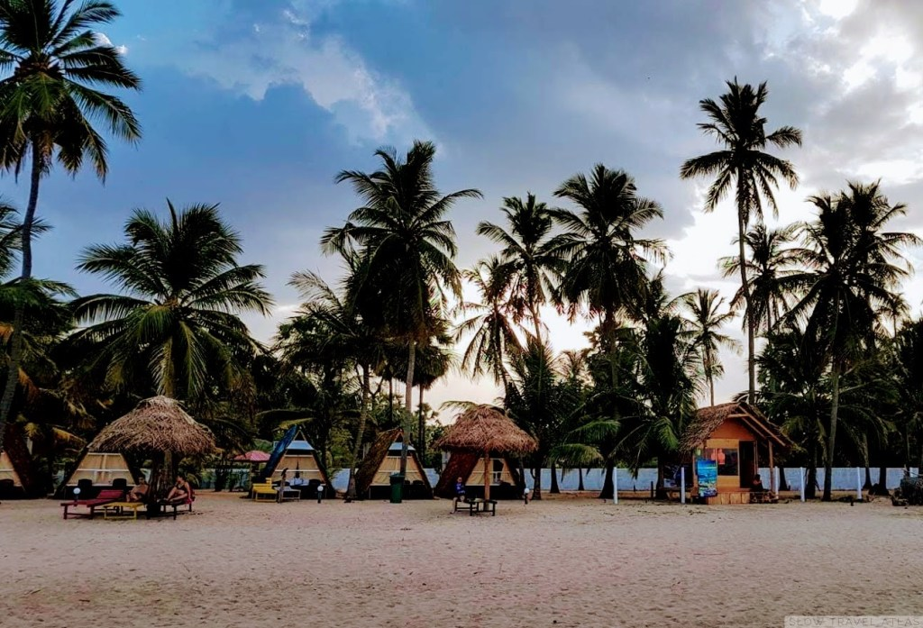Beach cabanas at Uppuveli Beach