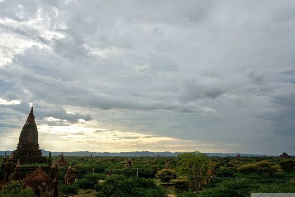 View over the plains of Bagan at sunset