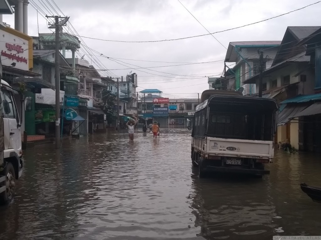A flooded street in Hpa-An, Myanmar