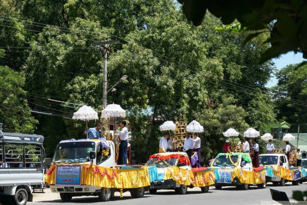 Small floats in a religious procession in Myinkaba