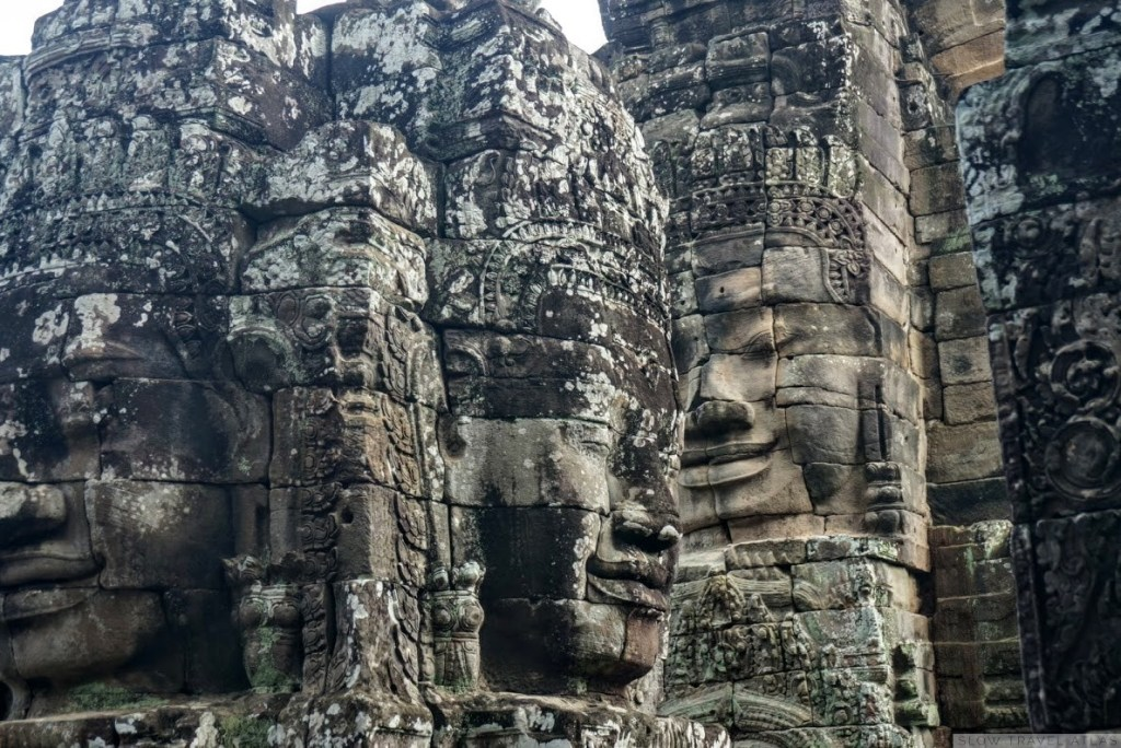 Bayon temple in Angkor Thom - closeup of the faces on the facade