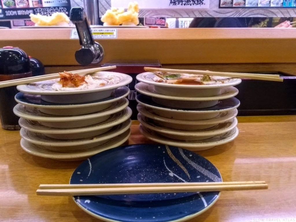 Empty plates at a circle sushi restaurant