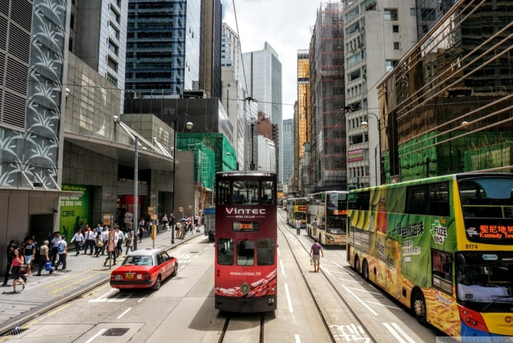 Double decker street tram in Hong Kong