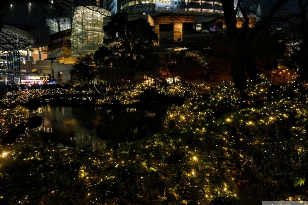 Illuminated garden at Roppongi Hills