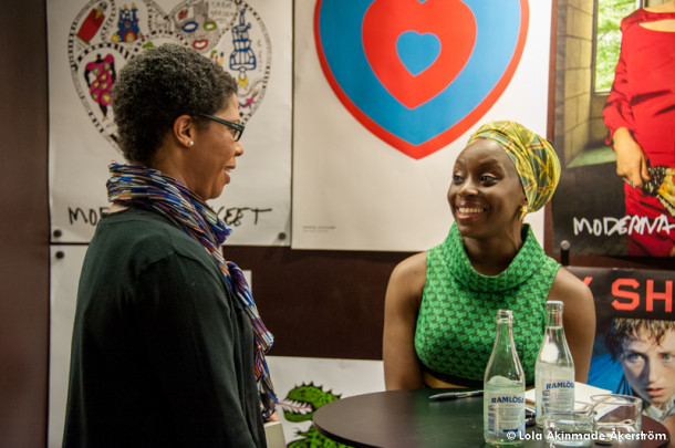 Author Chimamanda Adichie signs books for fans