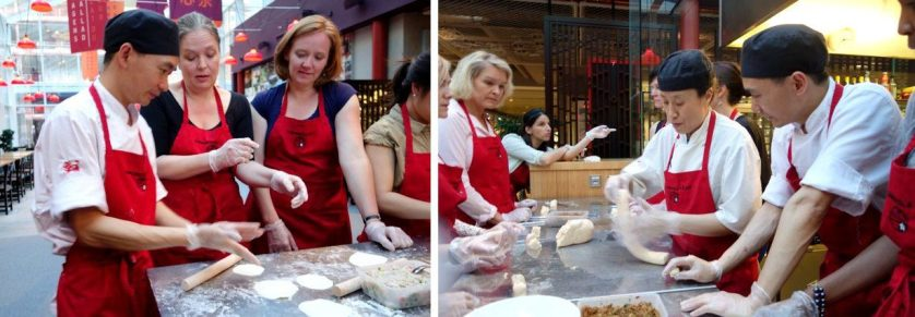 Chef Chen, our dumpling guide, shows how thin you need to roll out and work the dough.