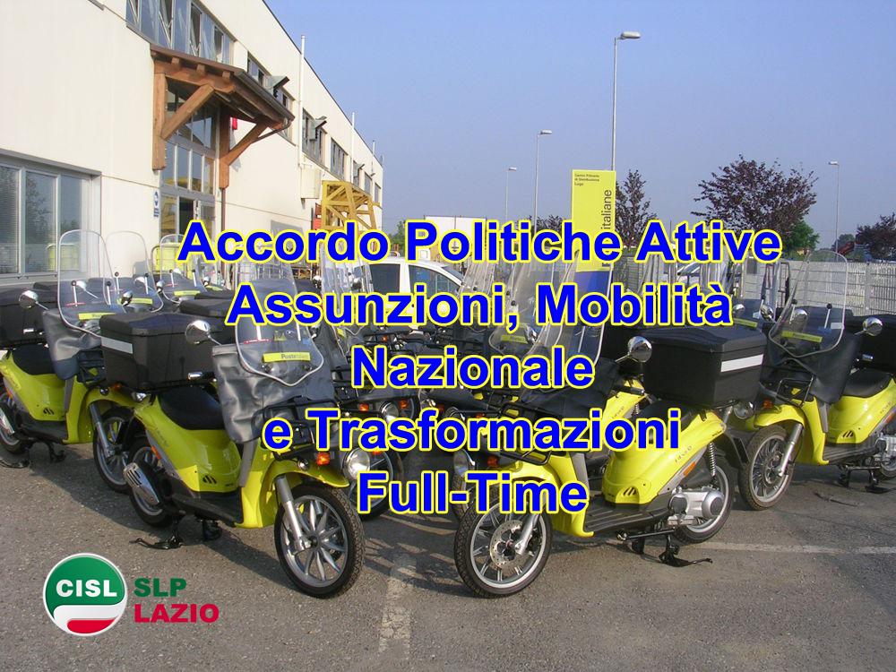 92a45fdd47 Accordo Politiche Attive: Assunzioni, Trasformazioni Contratti in Full-Time  e Mobilità Nazionale   SLP CISL LAZIO