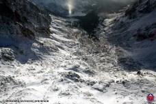 V spodných partiách dolín je snehu málo, Mengusovská dolina, Vysoké Tatry, 22. január 2016