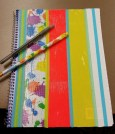 Duct tape notebook and pencil.