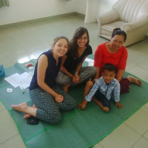 Lauren and I with mom and the 5-year-old boy we have been working with at Military Hospital.