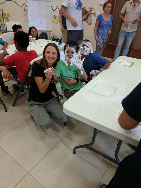 Fun with shaving cream at the Behavior Regulation station!