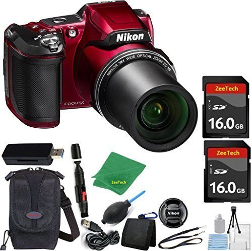 51LQjm5RwSL - Nikon COOLPIX L840 Digital Camera (WHITE BOX) Optical Zoom and Built-In Wi-Fi (Red) ZeeTech Bundle with 6pc Starter Kit + Case + Lens Cleaning Pen + Blower Brush + 2pcs 16GB Memory Cards + Reader