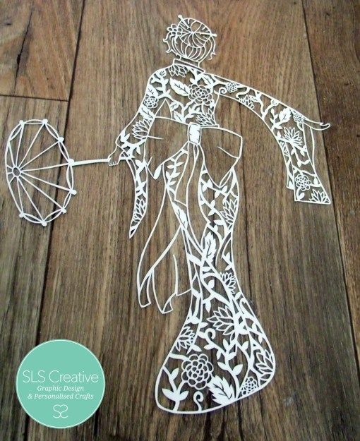 Geisha Girl Paper Cut Template