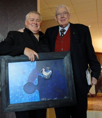 Lord Bannside (Ian Paisley) with artist Ian Fleming